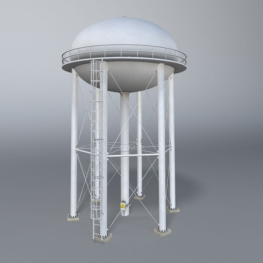 Water tower royalty-free 3d model - Preview no. 3