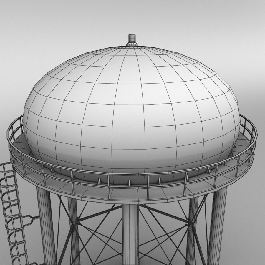 Water tower royalty-free 3d model - Preview no. 10