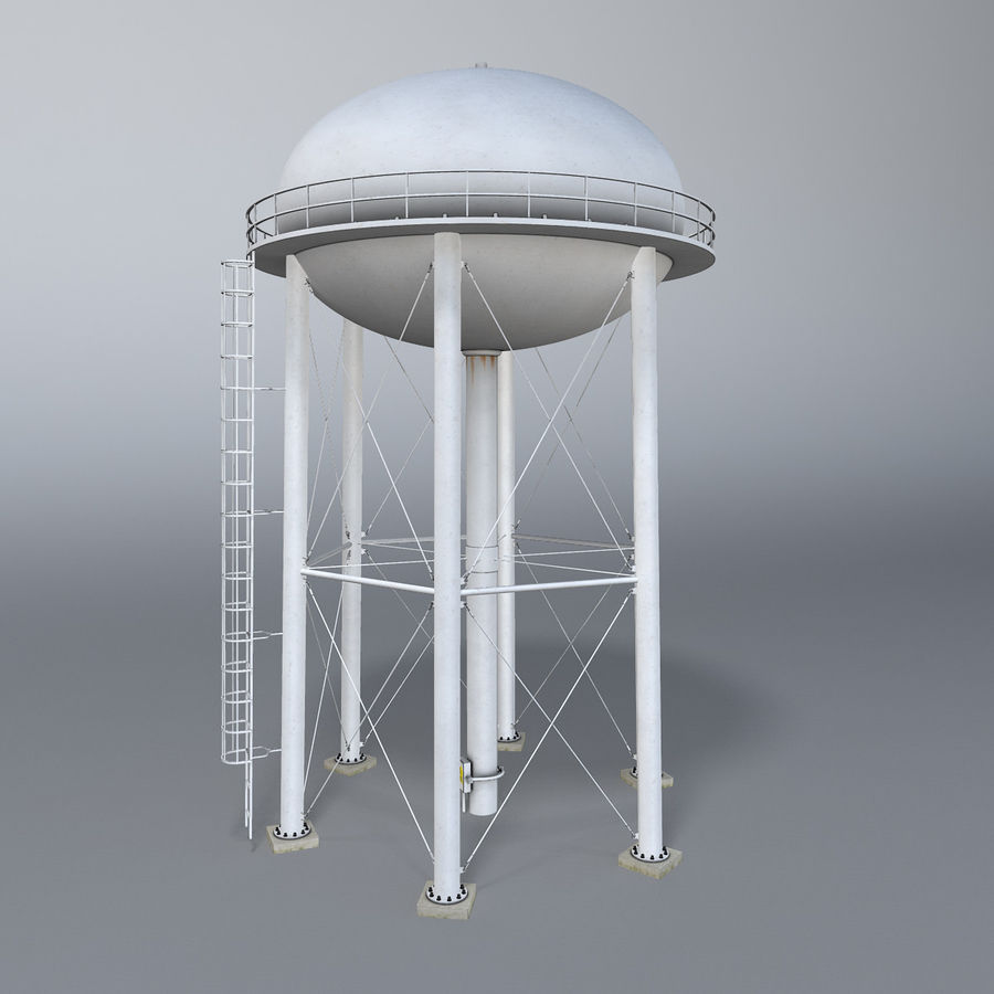 Water tower royalty-free 3d model - Preview no. 2