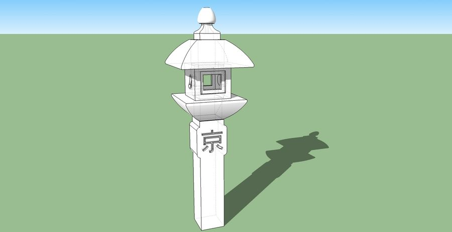 日本の石灯籠 royalty-free 3d model - Preview no. 5