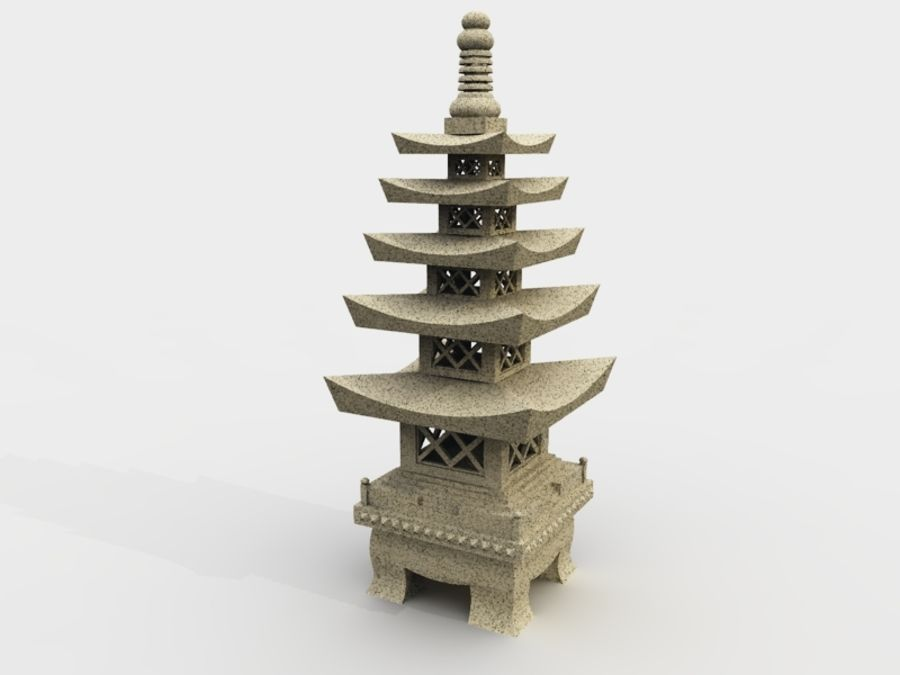 Chinese Stone Lantern royalty-free 3d model - Preview no. 1