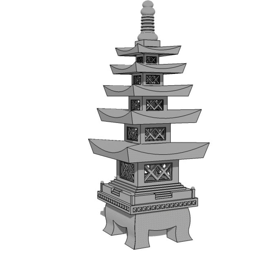 Chinese Stone Lantern royalty-free 3d model - Preview no. 4