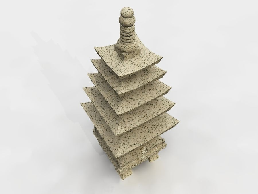 Chinese Stone Lantern royalty-free 3d model - Preview no. 3