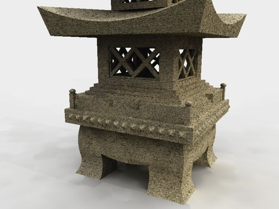 Chinese Stone Lantern royalty-free 3d model - Preview no. 2