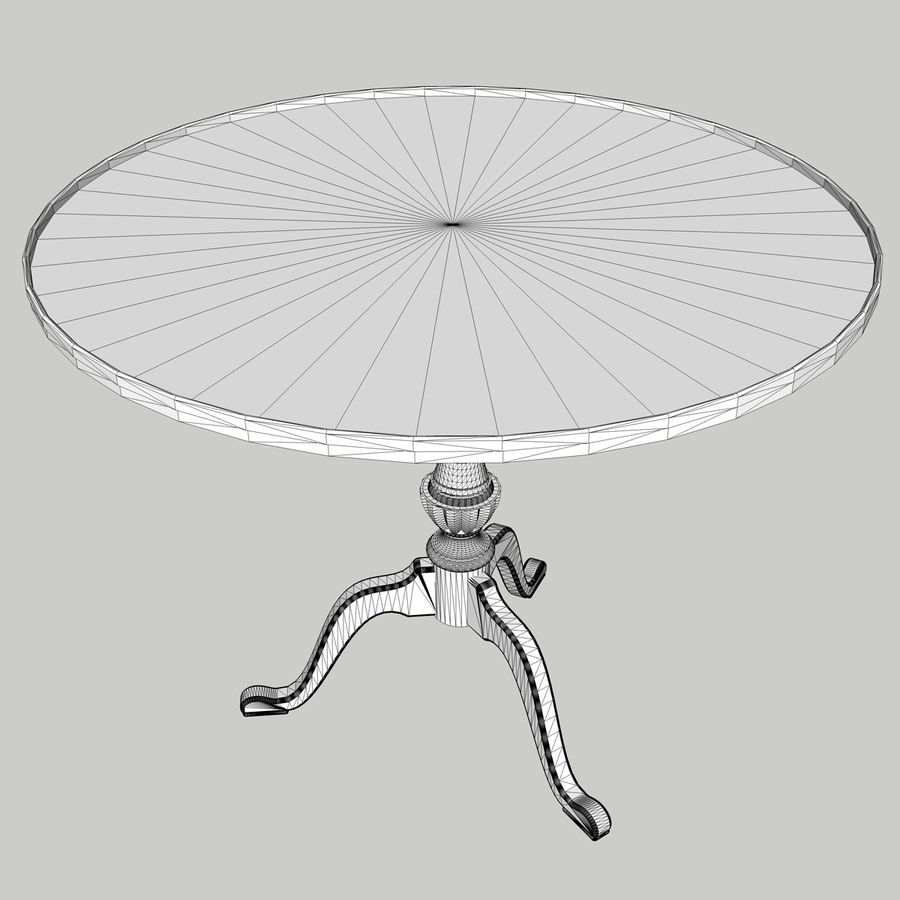 Chippendale Tea Table royalty-free 3d model - Preview no. 9