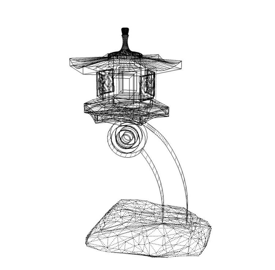 Japanese Stone Lantern royalty-free 3d model - Preview no. 4