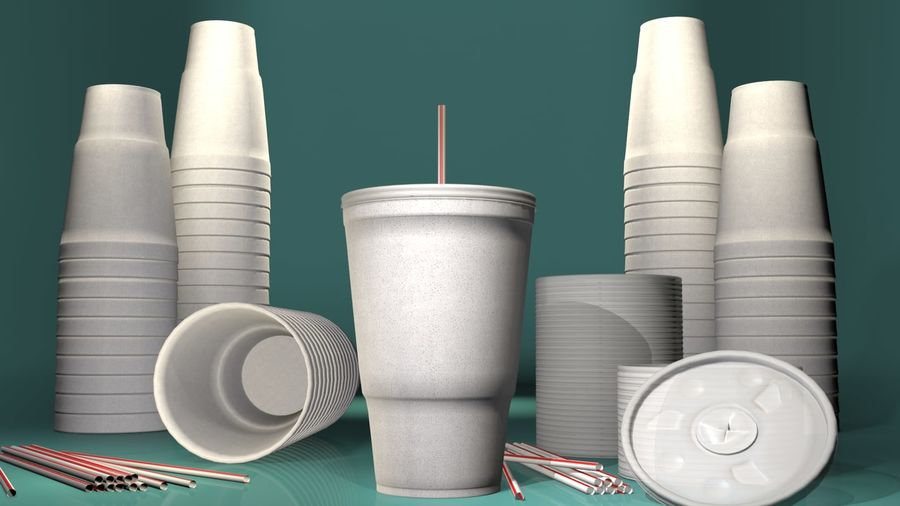 Styrofoam Cup royalty-free 3d model - Preview no. 1