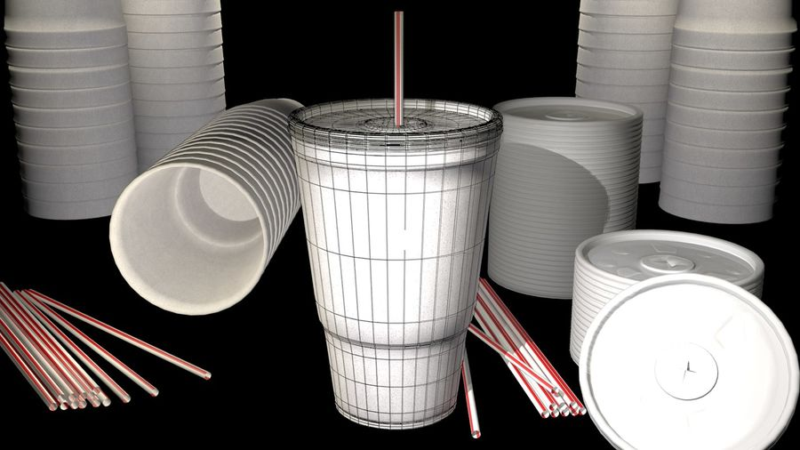 Styrofoam Cup royalty-free 3d model - Preview no. 3