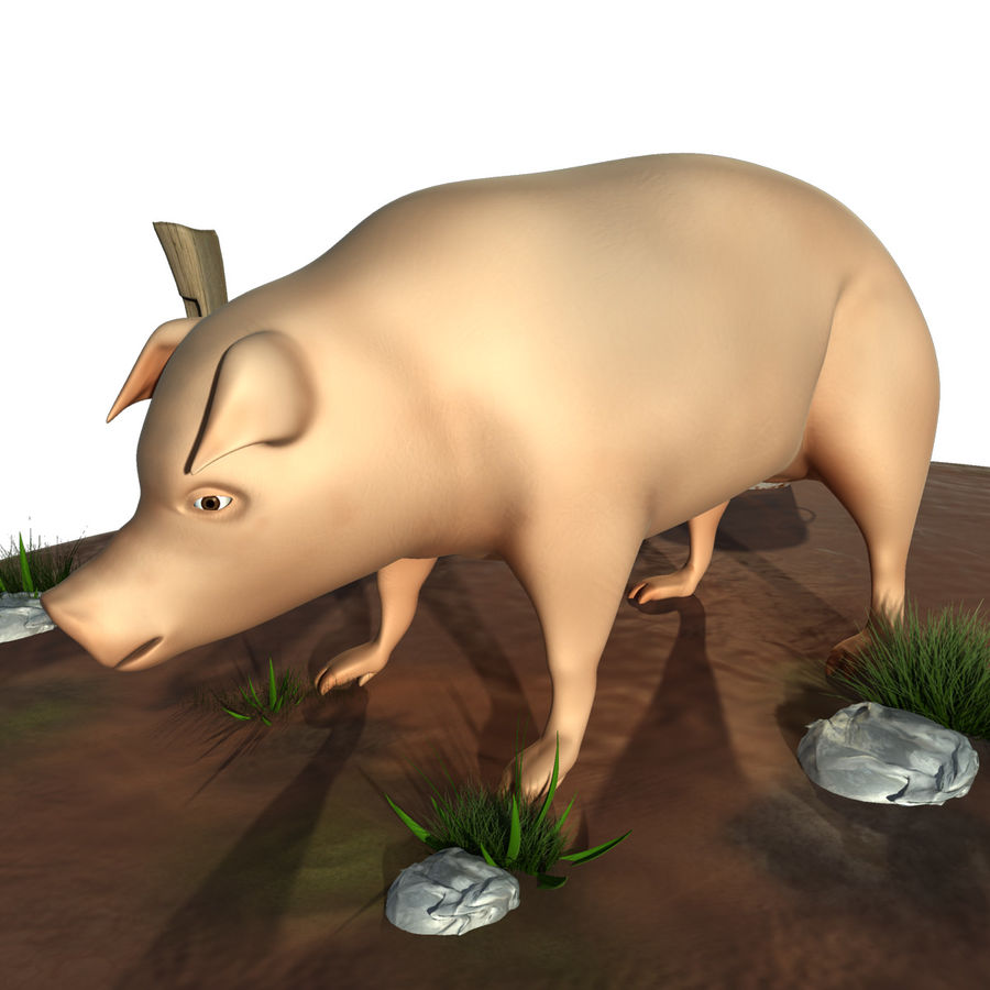 Pig Low Poly royalty-free 3d model - Preview no. 2