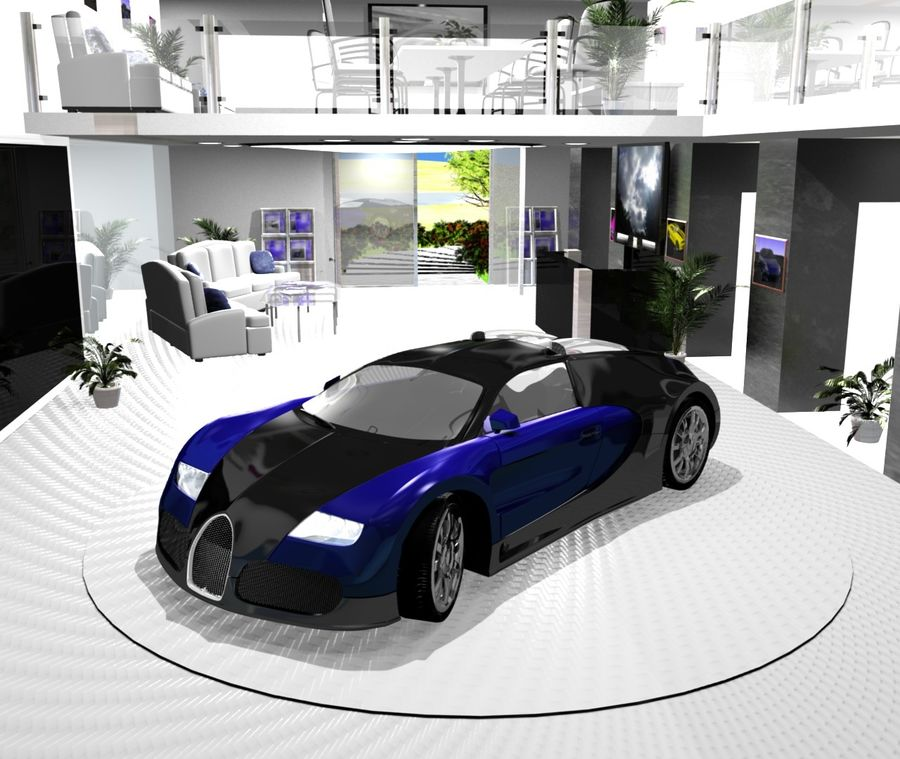 Bugatti veyron(1) royalty-free 3d model - Preview no. 4