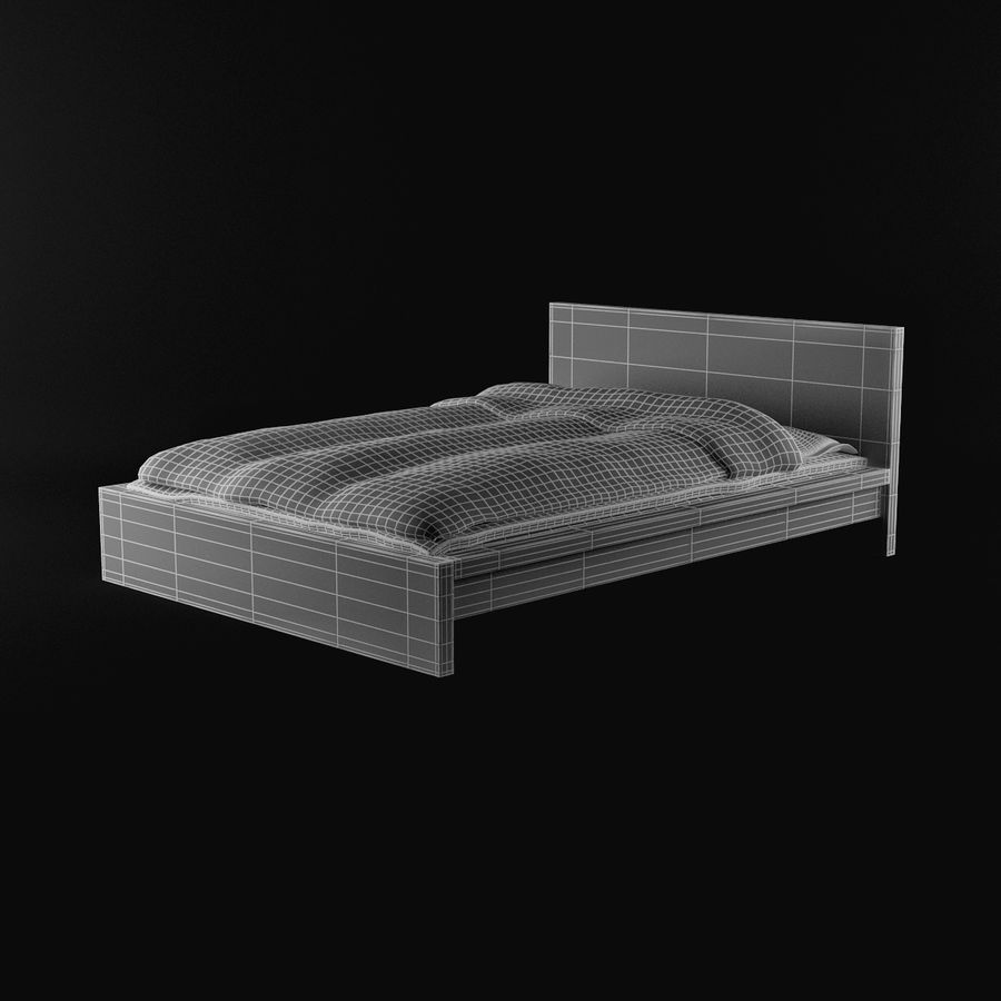 ikea malm bed 140 3d model 12 obj fbx 3ds max free3d. Black Bedroom Furniture Sets. Home Design Ideas