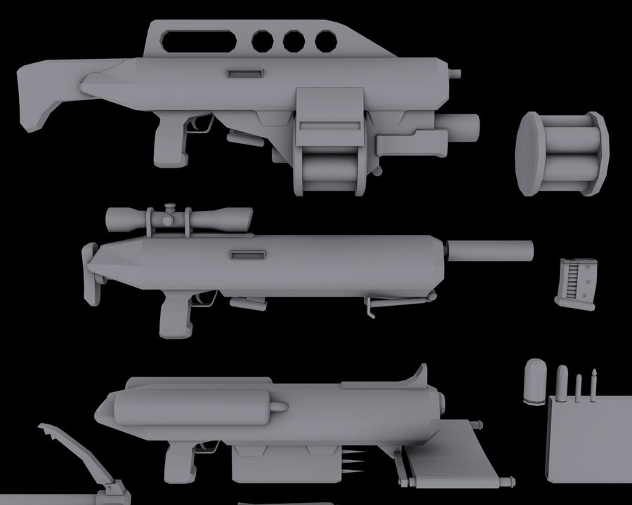 Sci-fi weapons royalty-free 3d model - Preview no. 3