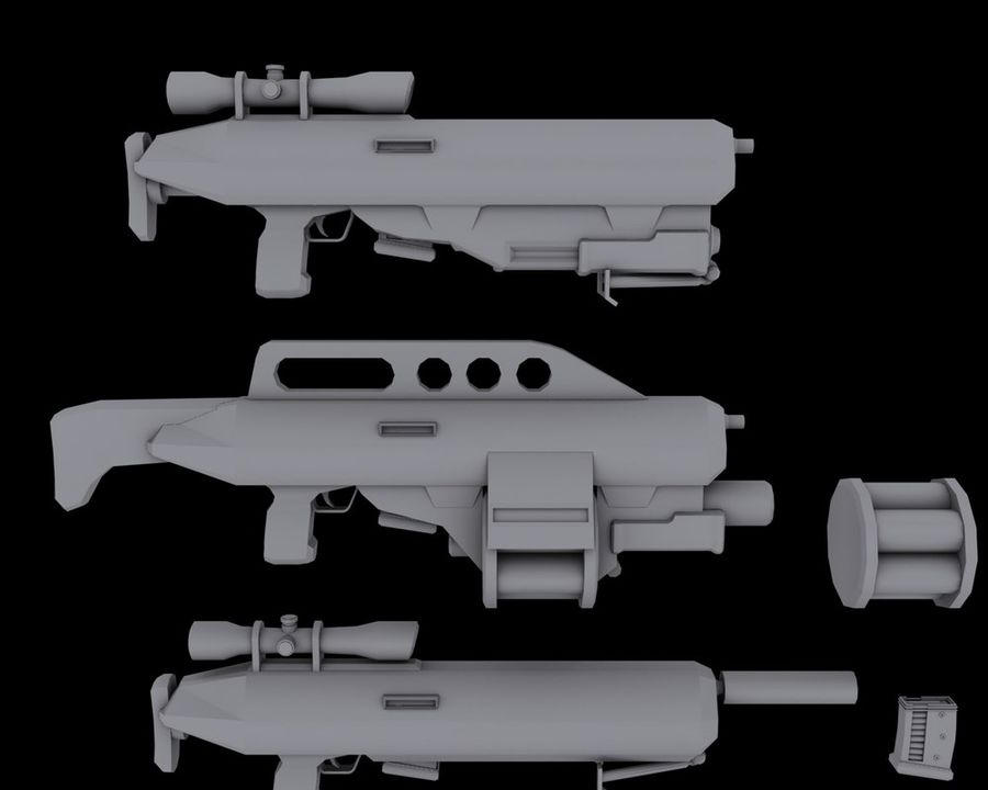 Sci-fi weapons royalty-free 3d model - Preview no. 2