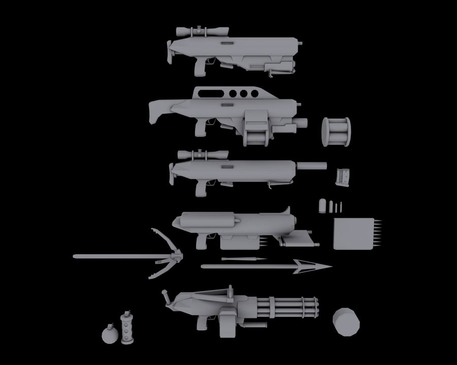 Sci-fi weapons royalty-free 3d model - Preview no. 1