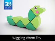 Wooden Wiggling Worm Toy 3d model