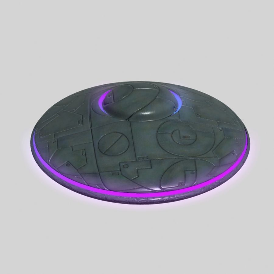 UFO alien spaceship royalty-free 3d model - Preview no. 3