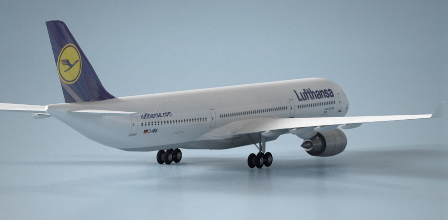 Airbus A330 Lufthansa royalty-free 3d model - Preview no. 3