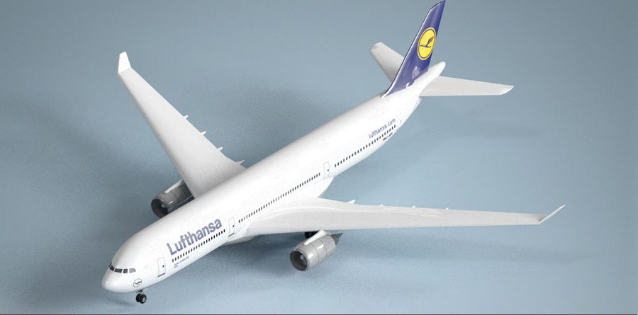 Airbus A330 Lufthansa royalty-free 3d model - Preview no. 4