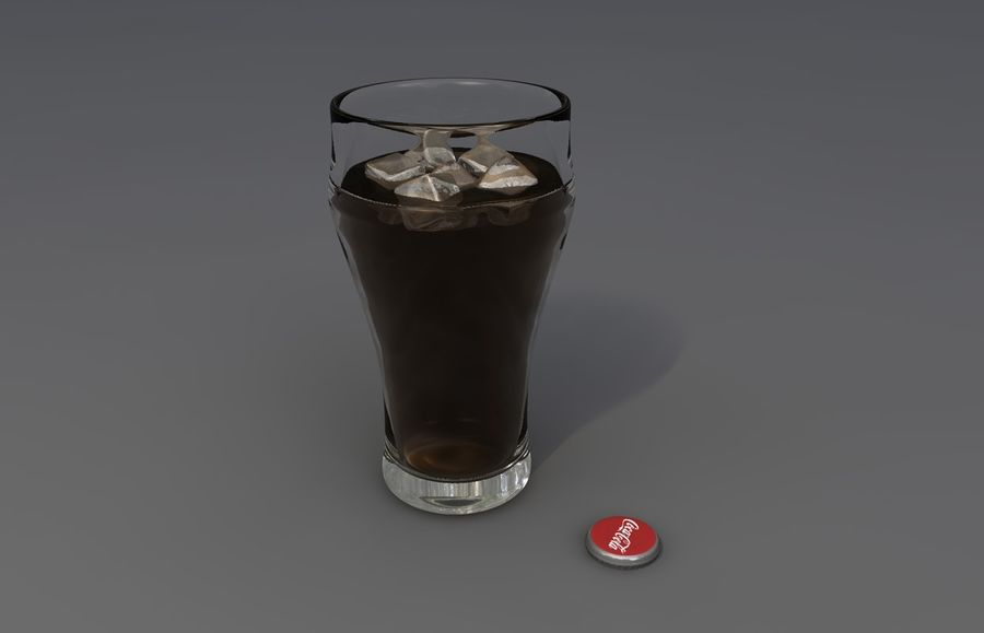 Coca Cola bouteille et verre royalty-free 3d model - Preview no. 5