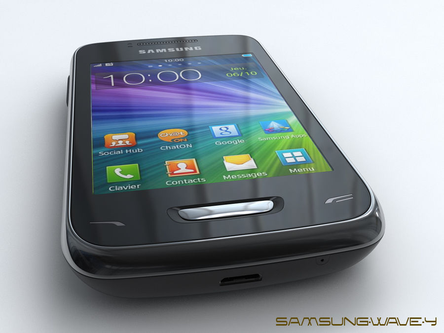 Samsung Wave Y royalty-free 3d model - Preview no. 4