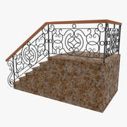 Wrought Iron Stair Railing 2 3d model
