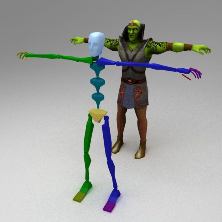 Orc mage royalty-free 3d model - Preview no. 4