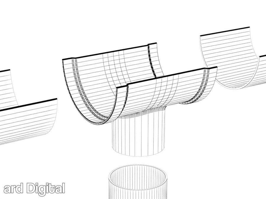 Gutter & Rain Water Set royalty-free 3d model - Preview no. 8