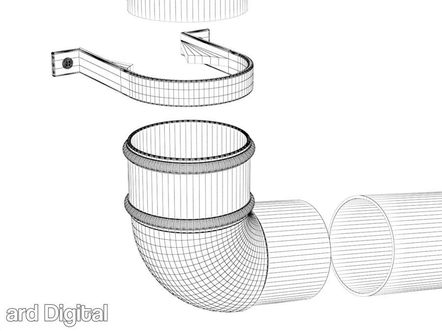 Gutter & Rain Water Set royalty-free 3d model - Preview no. 14
