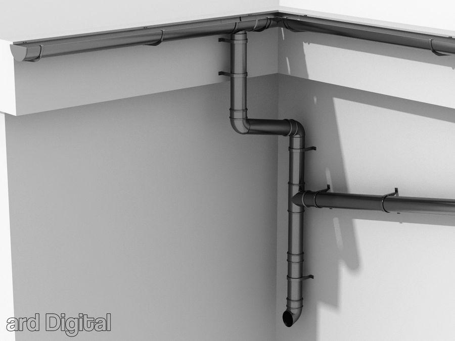Gutter & Rain Water Set royalty-free 3d model - Preview no. 3