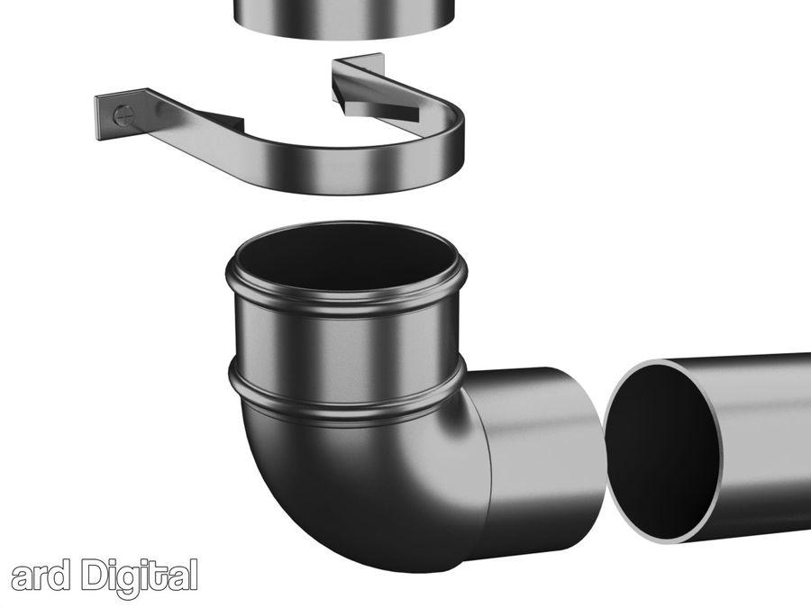 Gutter & Rain Water Set royalty-free 3d model - Preview no. 13