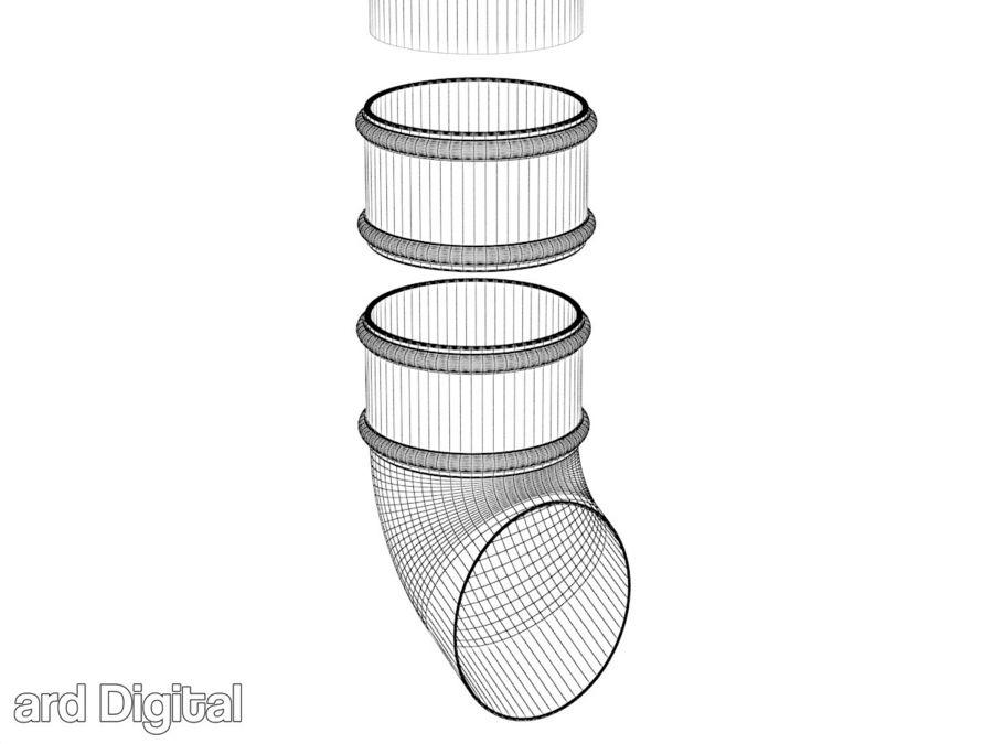 Gutter & Rain Water Set royalty-free 3d model - Preview no. 16
