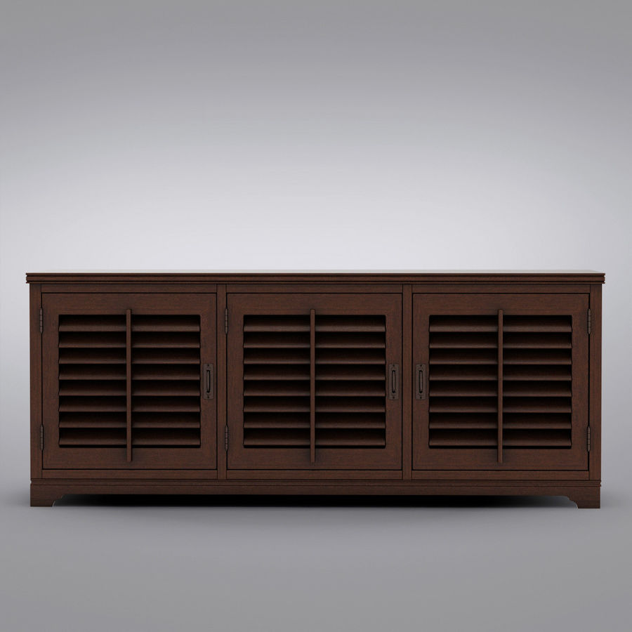 Pottery Barn - Andover Cabinet - Holstead Shutter Large Media Console royalty-free 3d model - Preview no. 5