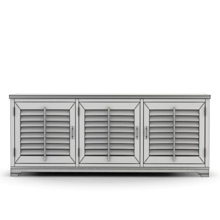 Pottery Barn - Andover Cabinet - Holstead Shutter Large Media Console royalty-free 3d model - Preview no. 4