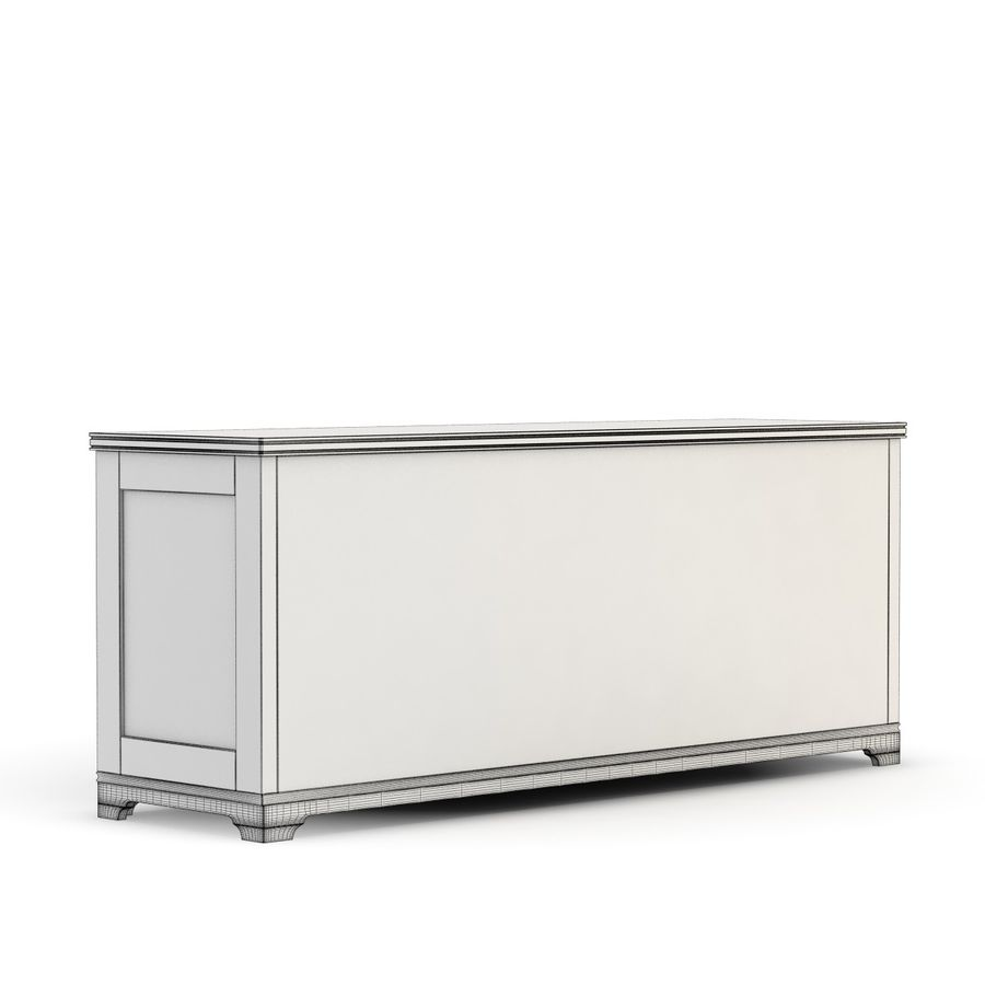 Pottery Barn - Andover Cabinet - Holstead Shutter Large Media Console royalty-free 3d model - Preview no. 9