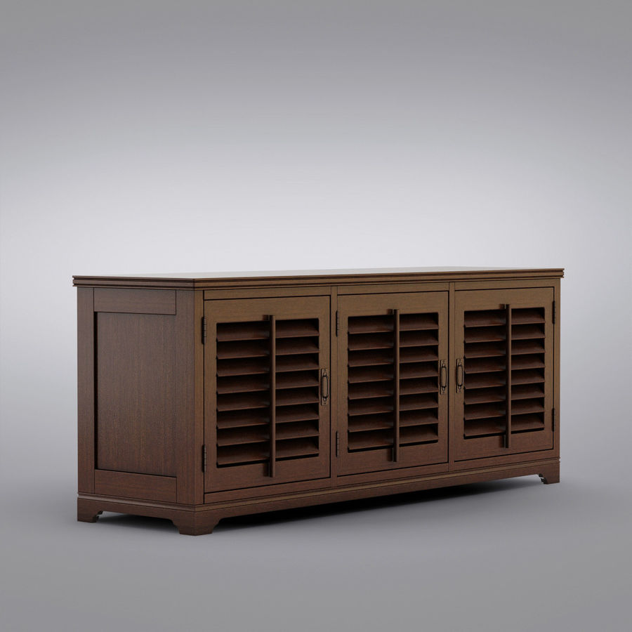 Pottery Barn - Andover Cabinet - Holstead Shutter Large Media Console royalty-free 3d model - Preview no. 1