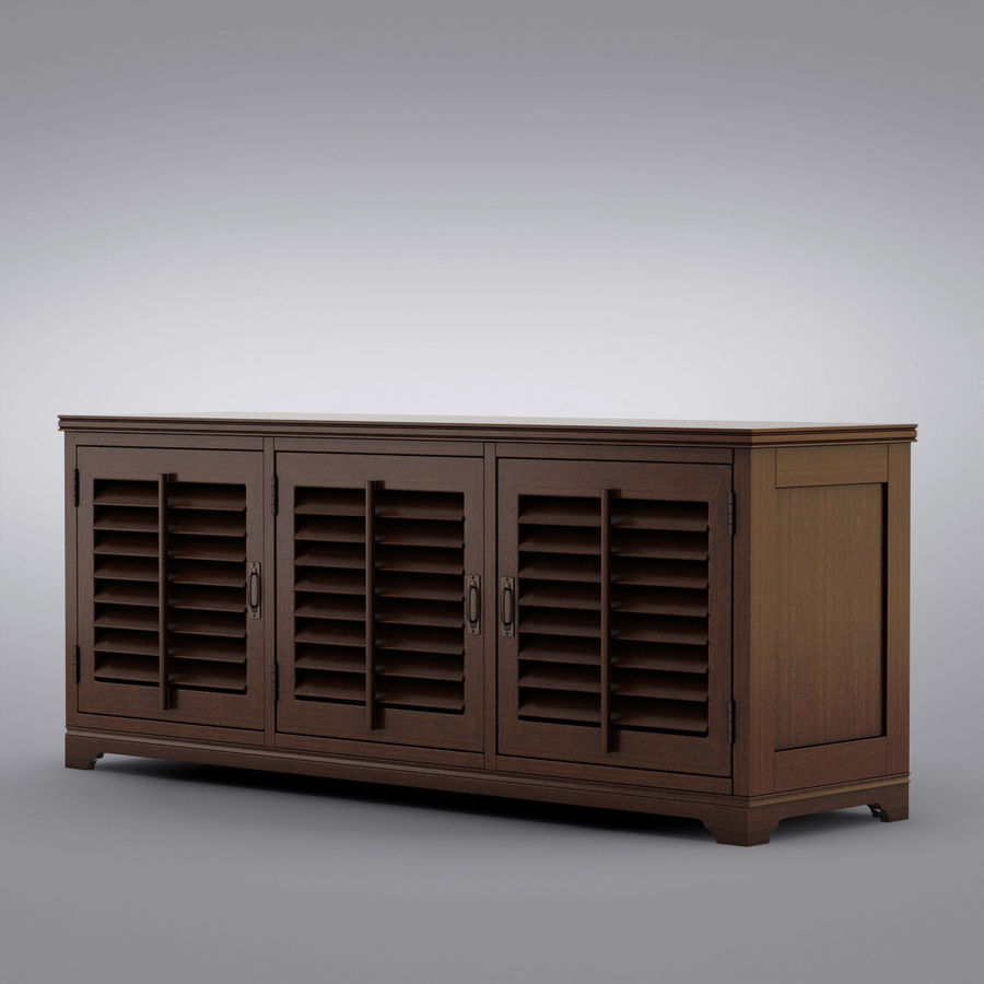 Pottery Barn - Andover Cabinet - Holstead Shutter Large Media Console royalty-free 3d model - Preview no. 2