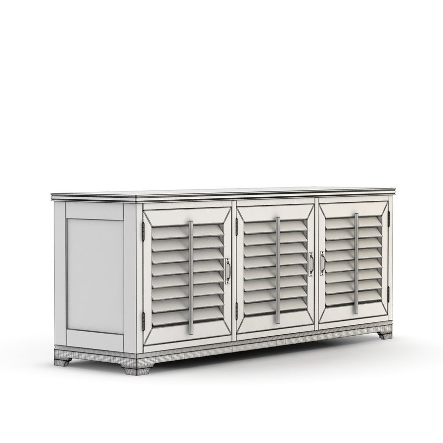 Pottery Barn - Andover Cabinet - Holstead Shutter Large Media Console royalty-free 3d model - Preview no. 6