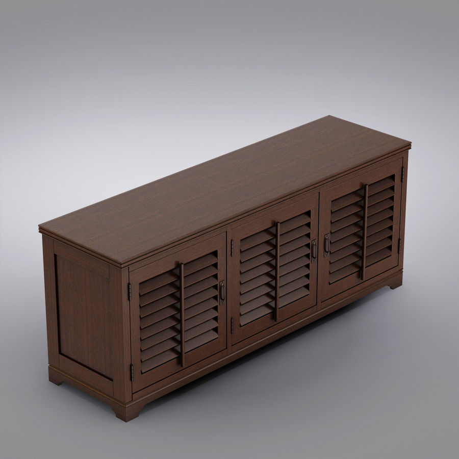 Pottery Barn - Andover Cabinet - Holstead Shutter Large Media Console royalty-free 3d model - Preview no. 12