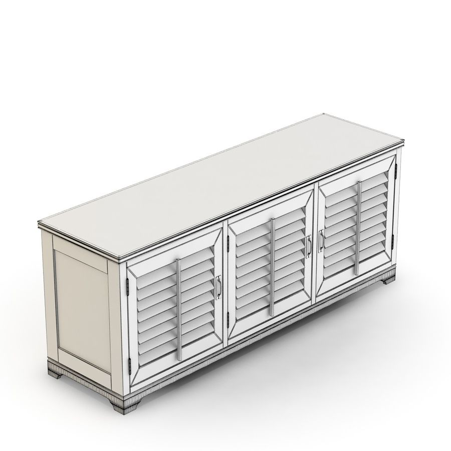 Pottery Barn - Andover Cabinet - Holstead Shutter Large Media Console royalty-free 3d model - Preview no. 11
