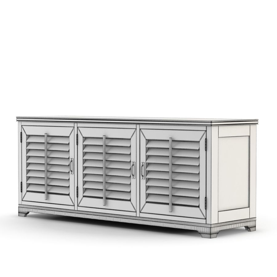 Pottery Barn - Andover Cabinet - Holstead Shutter Large Media Console royalty-free 3d model - Preview no. 3