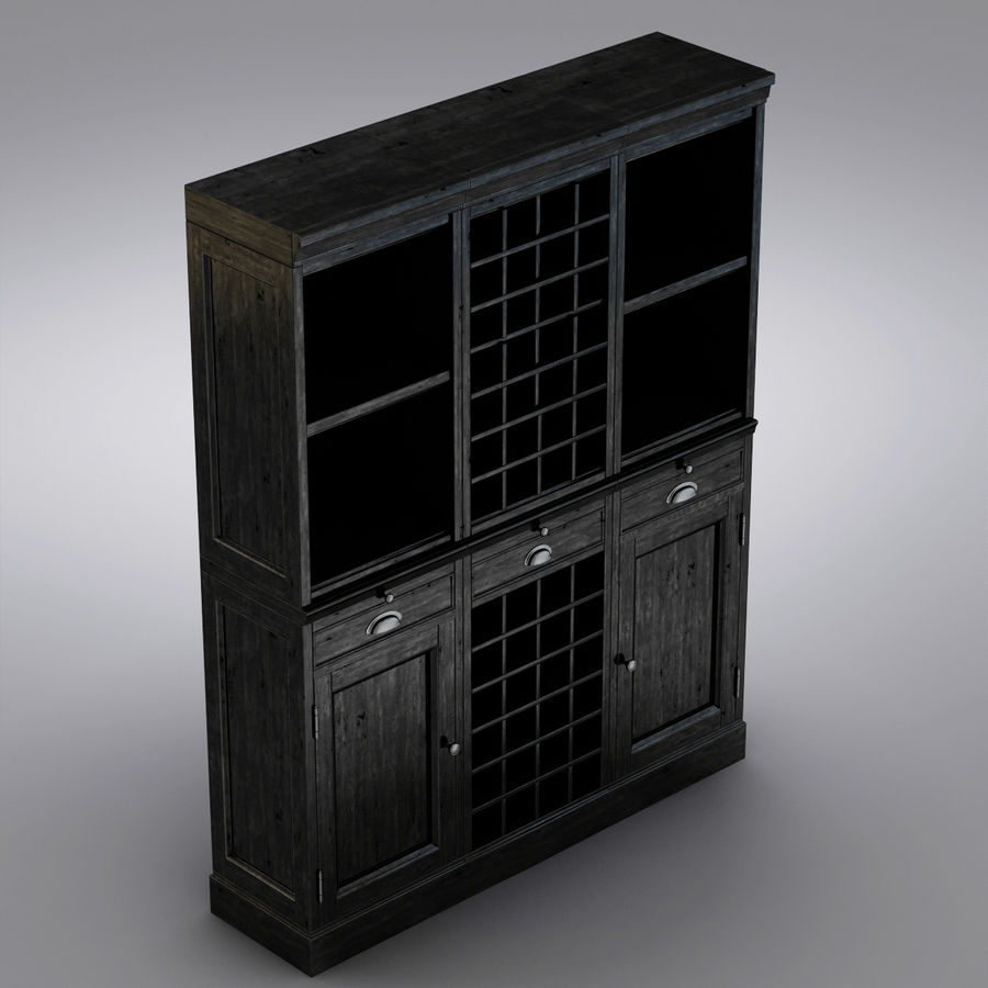 Pottery Barn - Mason Media Armoire - Modular Bar System z 1 Wine Hutch i 2 Open Hutch royalty-free 3d model - Preview no. 12