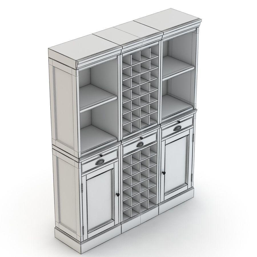 Pottery Barn - Mason Media Armoire - Modular Bar System z 1 Wine Hutch i 2 Open Hutch royalty-free 3d model - Preview no. 11