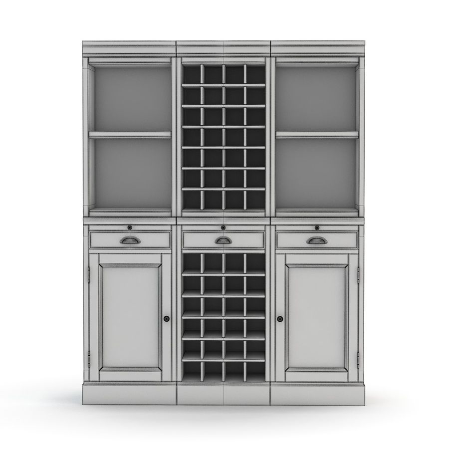 Pottery Barn - Mason Media Armoire - Modular Bar System z 1 Wine Hutch i 2 Open Hutch royalty-free 3d model - Preview no. 4