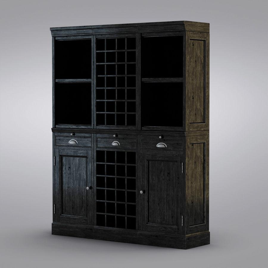 Pottery Barn - Mason Media Armoire - Modular Bar System z 1 Wine Hutch i 2 Open Hutch royalty-free 3d model - Preview no. 2