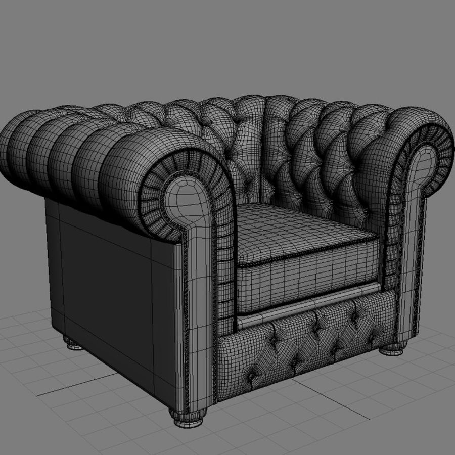 Chesterfield Armchair Royalty Free 3d Model   Preview No. 7