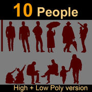 10 Human Silhouettes 3d model