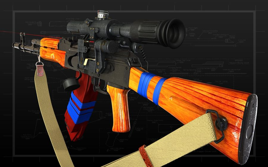 AK 74 royalty-free 3d model - Preview no. 9
