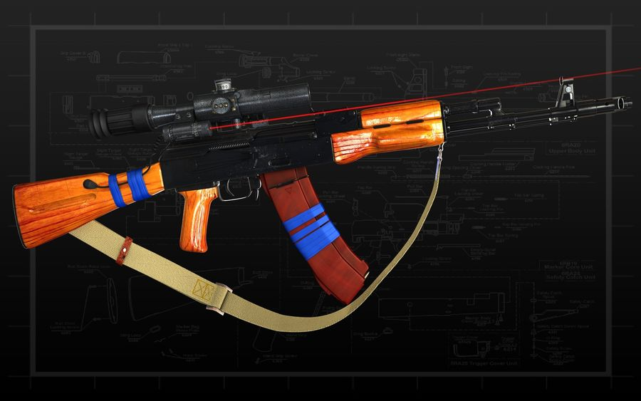 AK 74 royalty-free 3d model - Preview no. 10