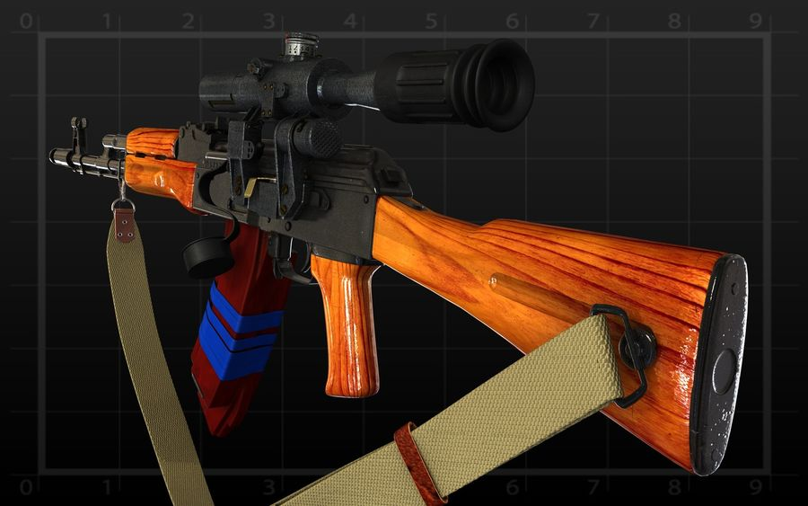 AK 74 royalty-free 3d model - Preview no. 3