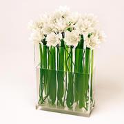 White flowers vase 3d model